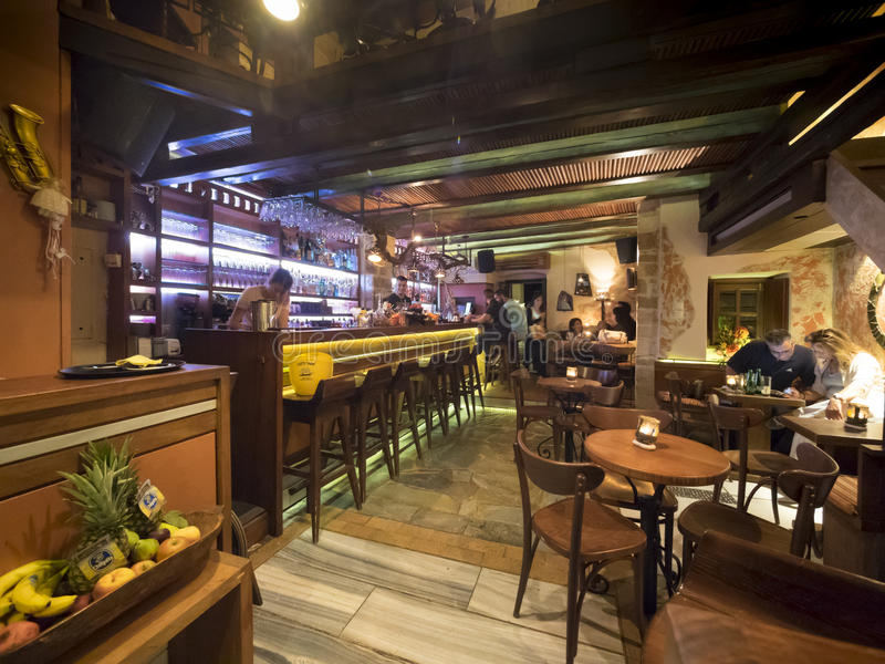 Greek restaurant and bar interior editorial photo image