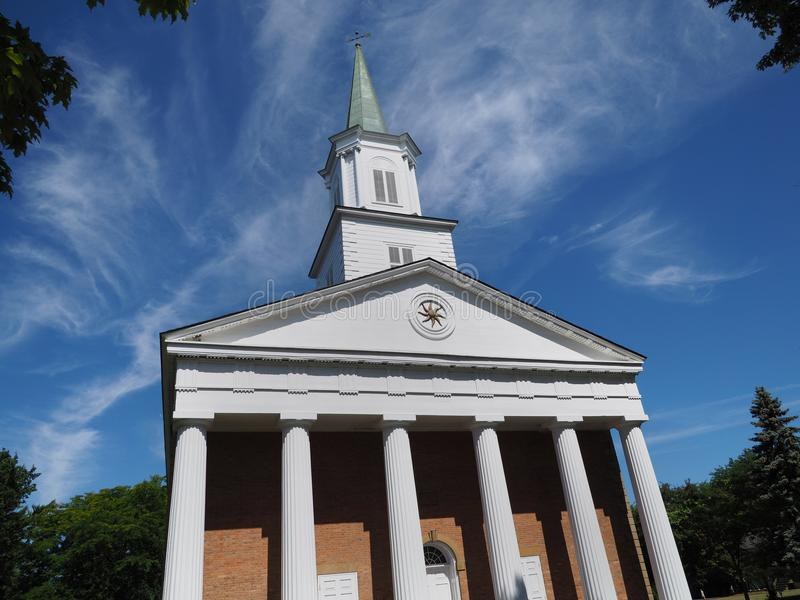 Greek Revival style colonial church. St. Andrew`s Presbyterian Church, Greek Revival style colonial church, Niagara on the Lake, Ontario stock image