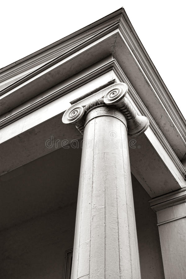 Greek Revival Style Ionic Column and Capital royalty free stock image