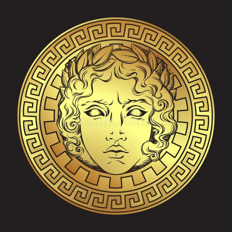Greek and roman god Apollo. Hand drawn antique style logo or print design art vector illustration. vector illustration