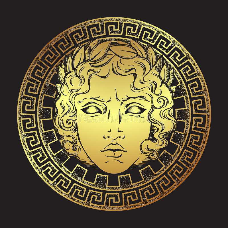 Greek and roman god Apollo. Hand drawn antique style logo or print design art vector illustration. stock illustration
