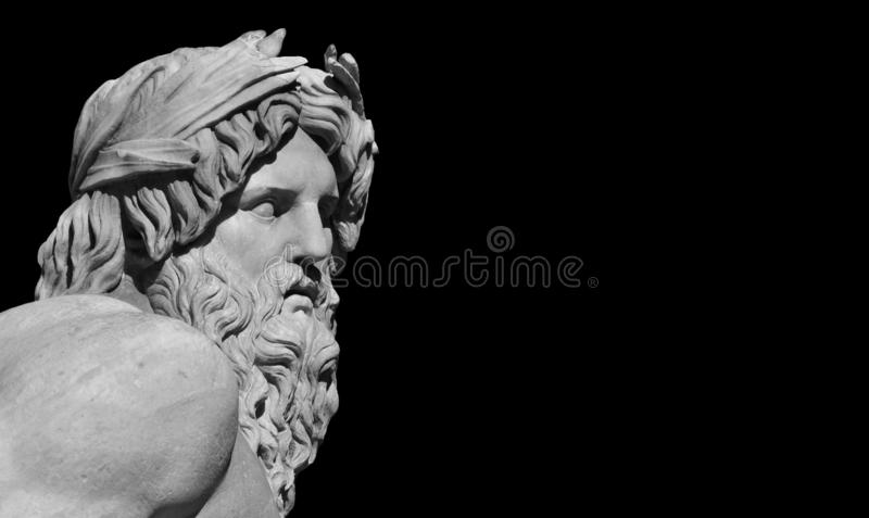 Greek or Roman God statue. Greek or Roman God. Marble head of River Ganges statue from baroque Fountain of Four River, erected in the 17th century in the royalty free stock images