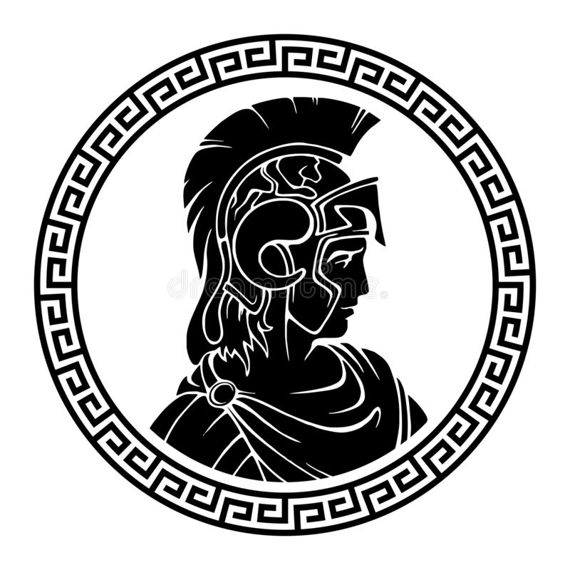 Greek round antique pattern. Alexander the Great Macedonian. royalty free illustration