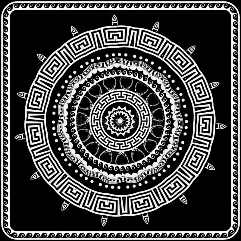 Greek round vector mandala pattern. Black and white greek key meanders ornament with geometric shapes, wave lines, frame, dots. stock illustration