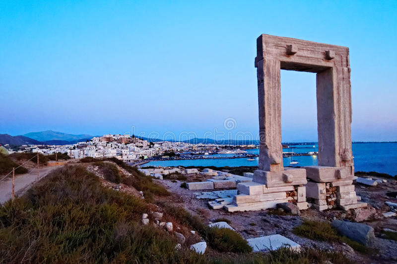Greek ruins on seacoast. Greek temple ruins along the seacoast of the island of Naxos stock photo