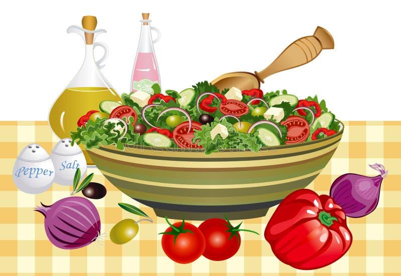 Greek salad. Healthy eating greek salad and ingredients - vector illustration vector illustration