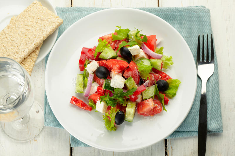 Download Greek salad stock image. Image of cucumber, pepper, onion - 27527079
