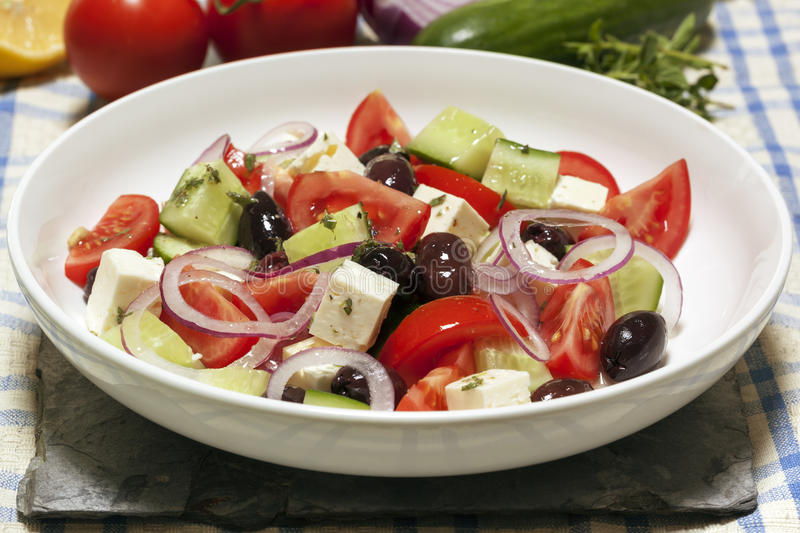 Download Greek Salad stock photo. Image of colorful, cheese, napkin - 28487818