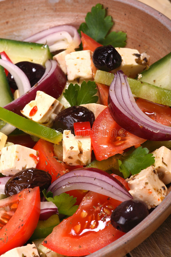 Download Greek salad stock photo. Image of ingredient, bright, cheese - 3757156