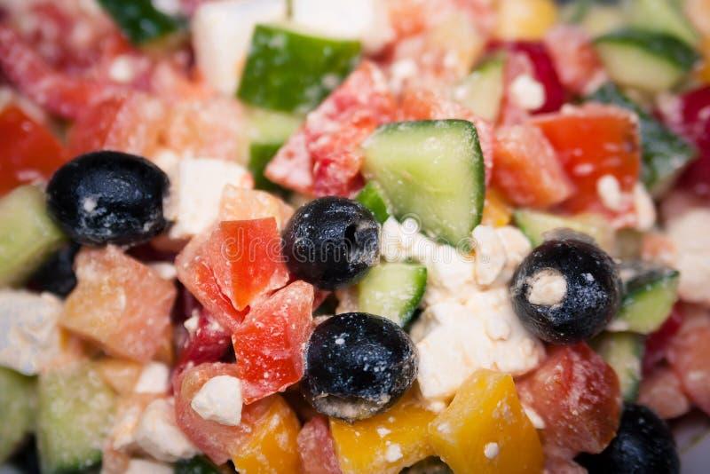 Greek salad with feta cheese. Greek vegetable salad with feta cheese macro royalty free stock photo