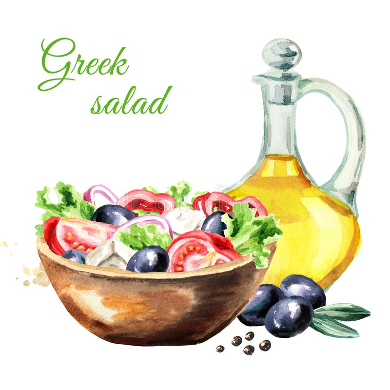 Greek salad with fresh vegetables, feta cheese and olive oil. Watercolor hand drawn illustration, isolated on white background. Greek salad with fresh vector illustration