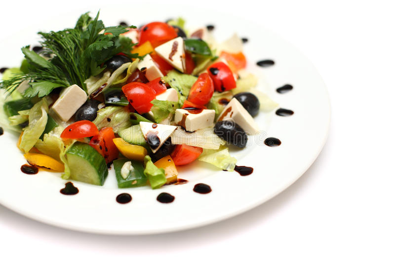 Greek Salad - gourmet food. White background royalty free stock photography