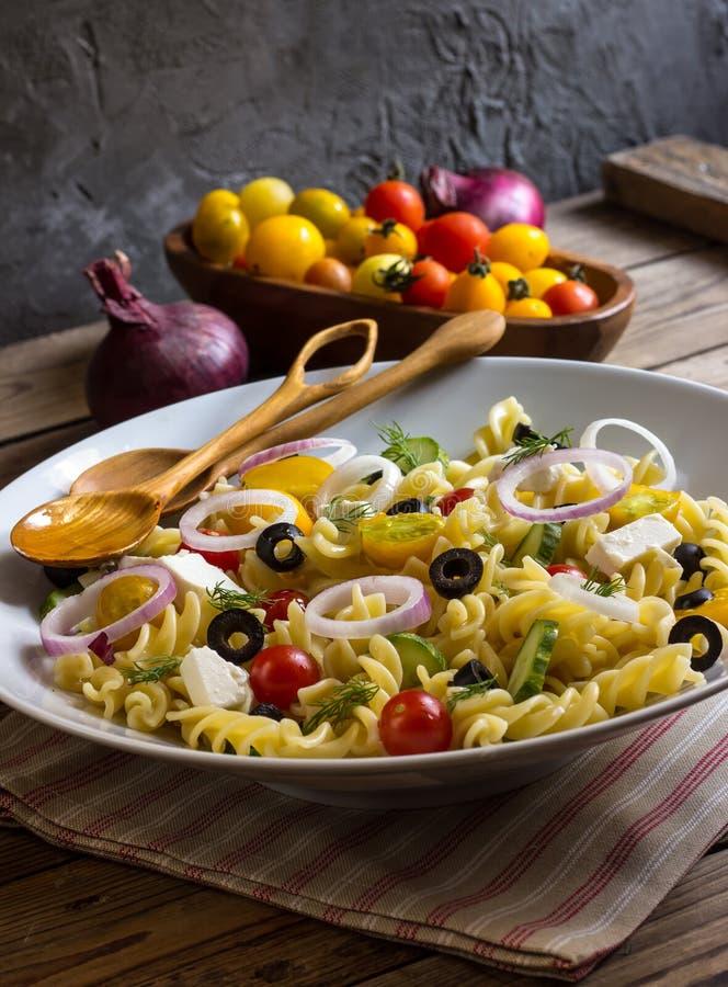 Greek Salad with Pasta royalty free stock photo