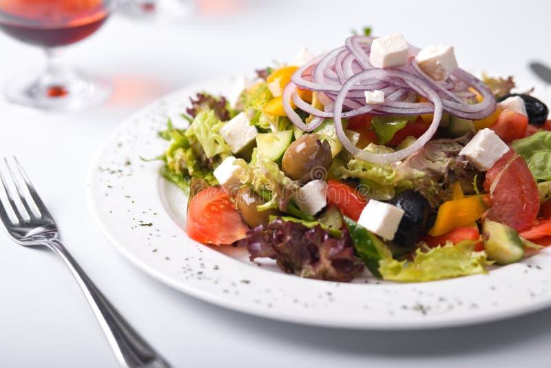 Greek salad on plate stock photo