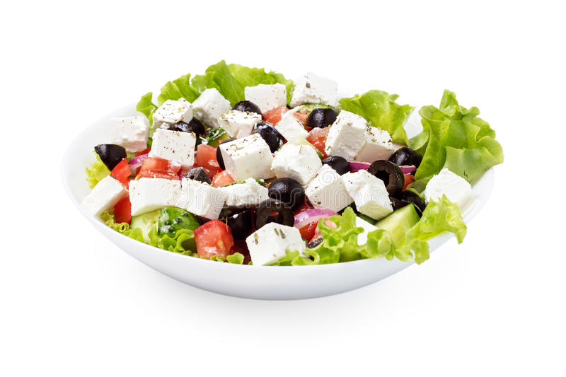 Download Greek salad in plate stock photo. Image of color, freshness - 26498424