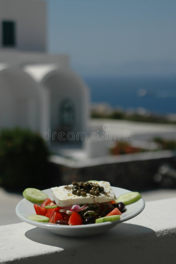Greek salad scene stock photo