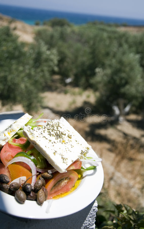 Greek salad view of the farm and sea stock image
