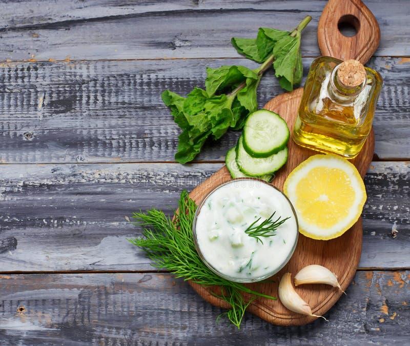 Greek sauce tzatziki and cucumber, mint, dill, garlic, lemon, oi royalty free stock photos