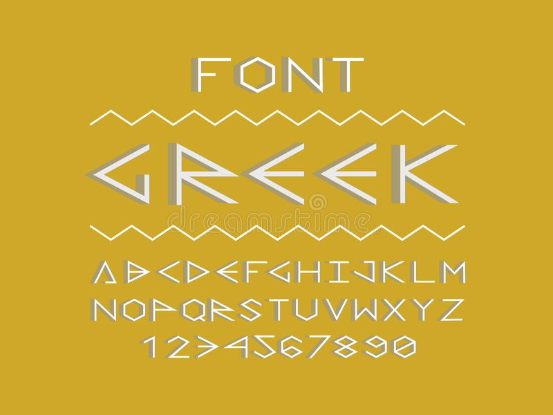 Greek shadow font. Vector alphabet royalty free illustration