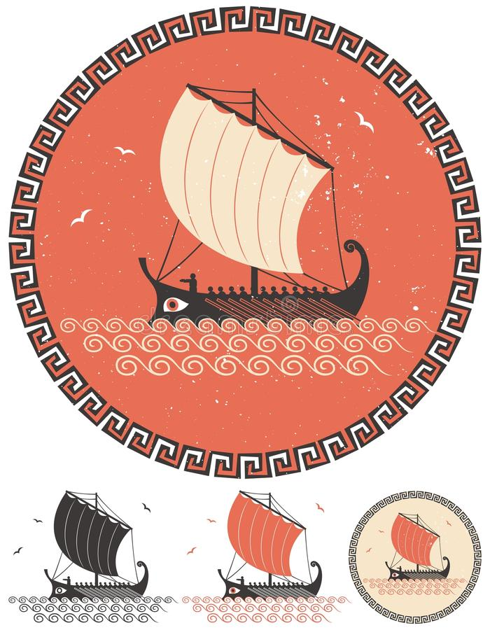 Greek Ship. Stylized illustration of ancient Greek ship in 4 different versions