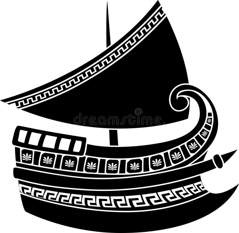 Download Greek ship stencil stock vector. Image of float, curl - 20860801