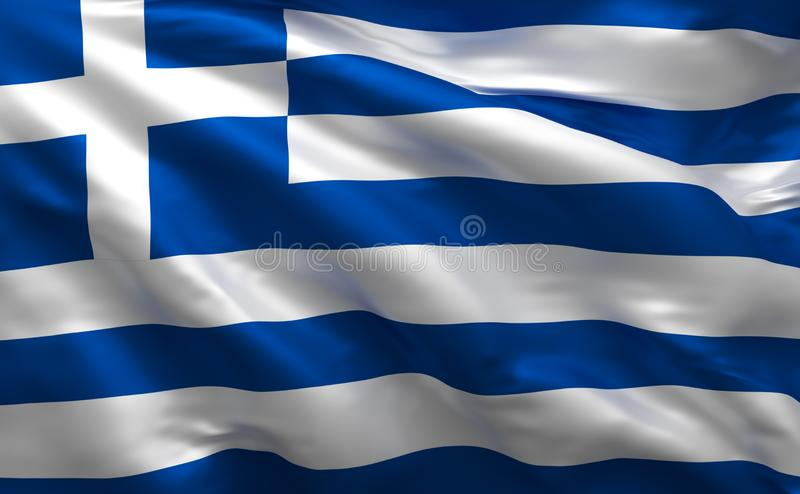 Greek simple flag, Greece national colors, 3d render vector illustration