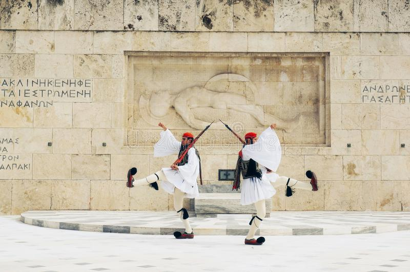 Greek soldiers Evzones dressed in full dress uniform, refers to the members of the Presidential Guard, an elite ceremonial unit stock images