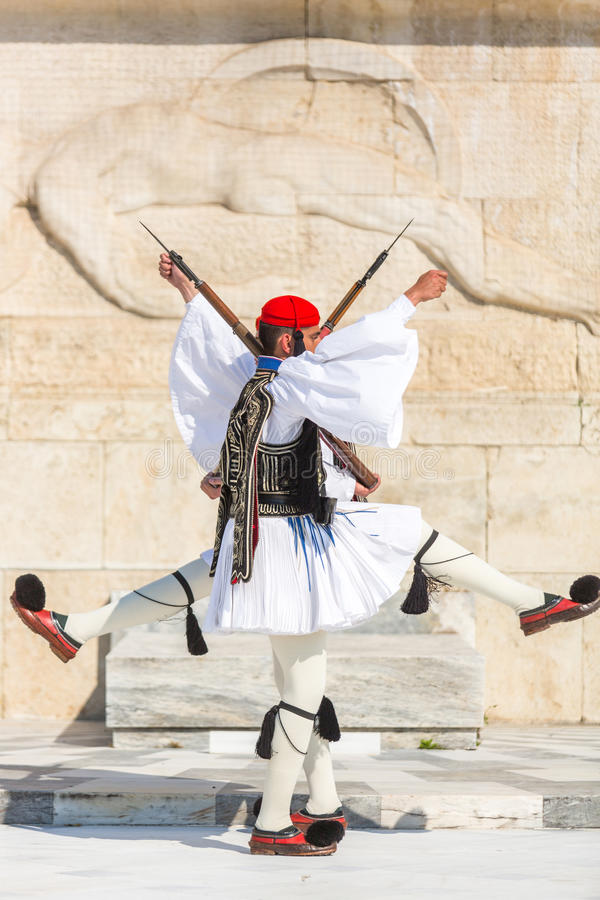 Greek soldiers Evzones (or Evzoni) dressed in full dress uniform, refers to the members of the Presidential Guard,. ATHENS, GREECE - APR 13, 2015: Greek soldiers stock photo