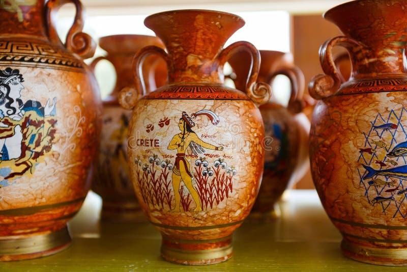 Greek souvenir pitchers stock photography