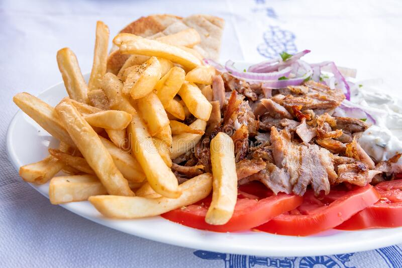 Greek souvlaki, traditional food in Greece stock photos