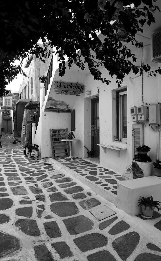 Greek street in Paros island royalty free stock images