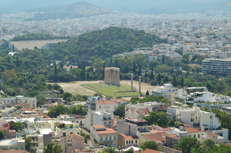 Greek Style Columns Seen From The Acropolis Of Athens. In The Acroplis Of Athens. History, Architecture, Travel, Archeology. Cruis. E ships. July 9, 2018 royalty free stock photos
