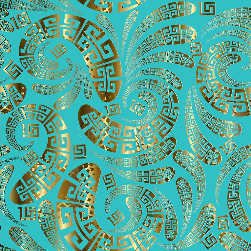 Greek style floral paisley seamless vector pattern. stock photos