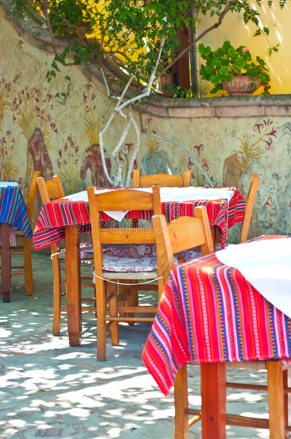 Download Greek tavern stock image. Image of plaster, pink, rhodes - 26555061