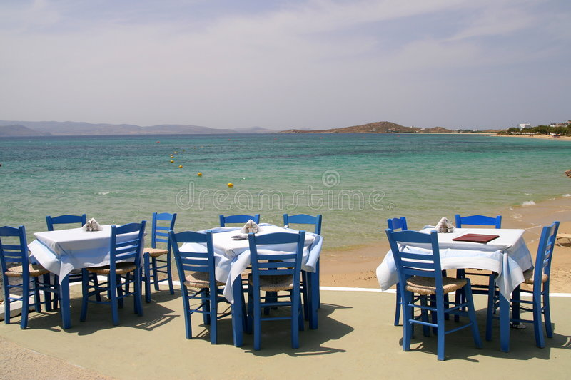 Download Greek tavern by the sea stock image. Image of naxos, service - 5982917