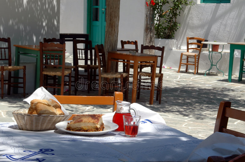 Greek taverna lunch royalty free stock image
