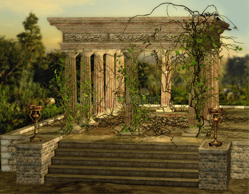 Greek Temple. An ancient Greek temple with a burners and ivy royalty free illustration
