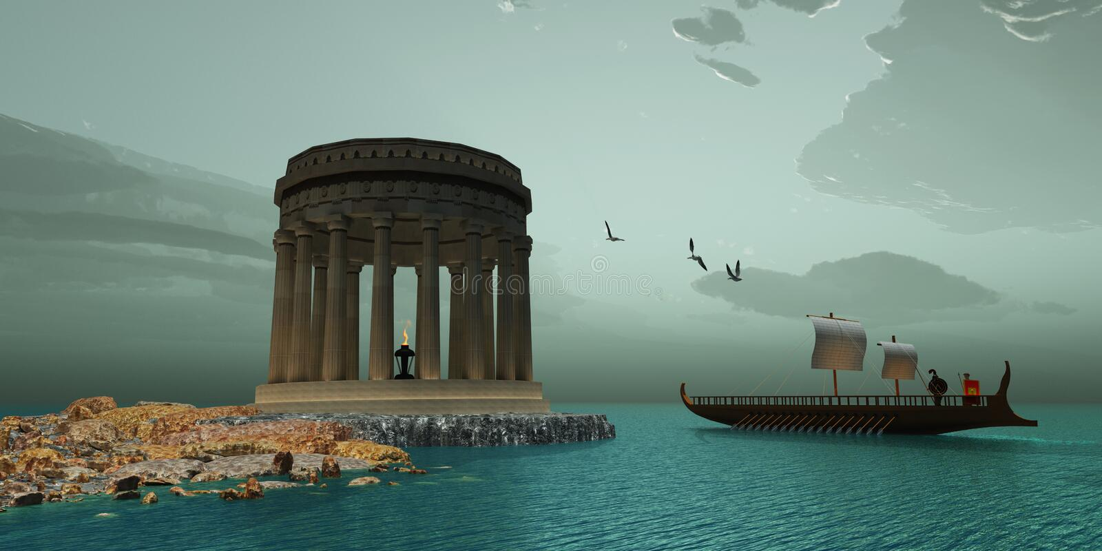 Greek Temple. A ship passes close to a beautiful Greek temple on the coast of this island stock illustration