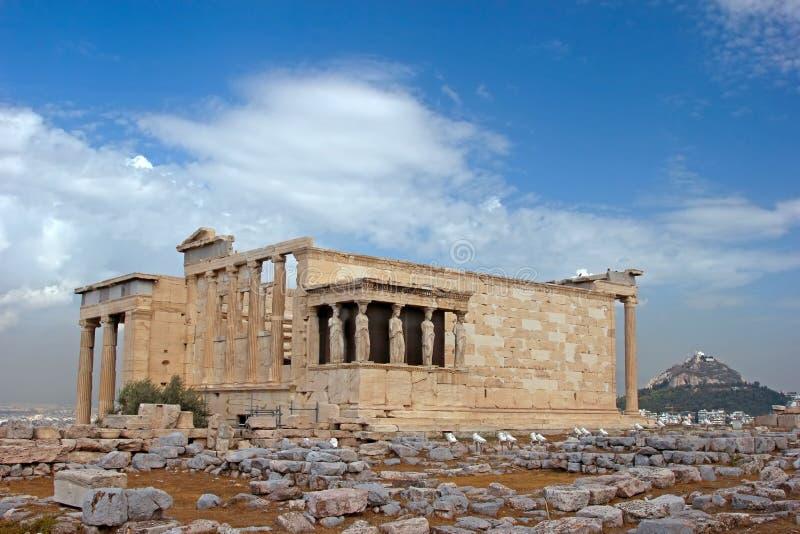 Greek temple. The ancient temple Erechtheion in Acropolis, Athens, Greece stock photos