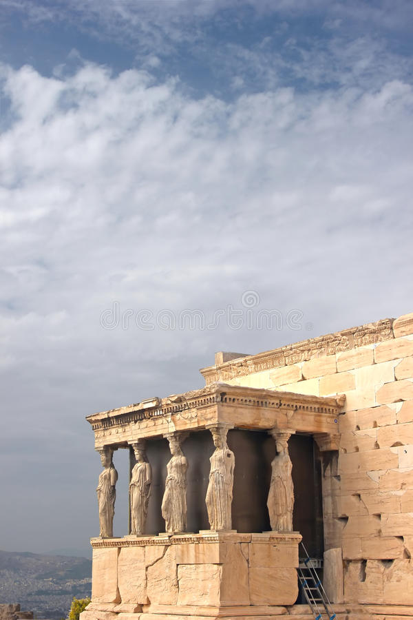 Greek temple. The ancient temple Erechtheion in Acropolis, Athens, Greece stock photography