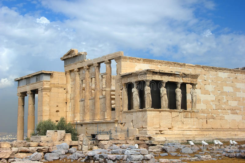 Greek temple. The ancient temple Erechtheion in Acropolis, Athens, Greece stock image