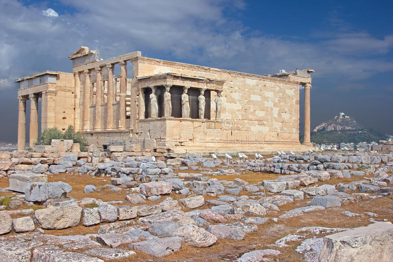 Greek temple. The ancient temple Erechtheion in Acropolis, Athens, Greece stock images