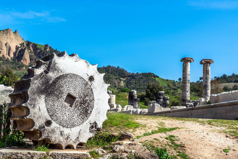 Greek Temple of Artemis near Ephesus and Sardis. Was build 400 BC aslo called Temple of Diana. One of Seven Wonders in World stock photo