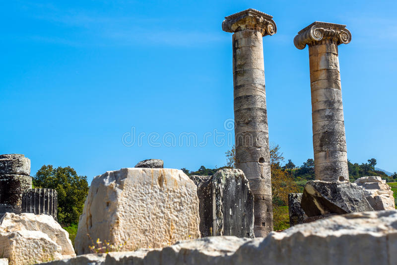 Greek Temple of Artemis near Ephesus and Sardis. Was build 400 BC aslo called Temple of Diana. One of Seven Wonders in World stock images