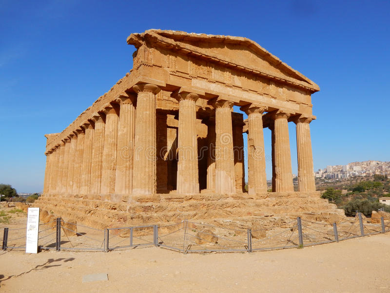 Greek Temple of Concordia - Valley of the Temples - Sicily. Temple of Concordia an ancient Greek temple in the Valley of the Temples - Agrigento - It is the stock images