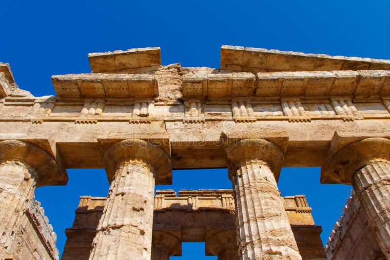 The greek Temple of Hera-II. Paestum, Italy royalty free stock photos