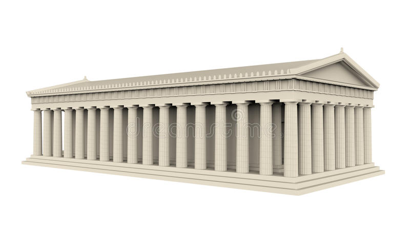 Greek Temple Isolated. On white background. 3D render vector illustration
