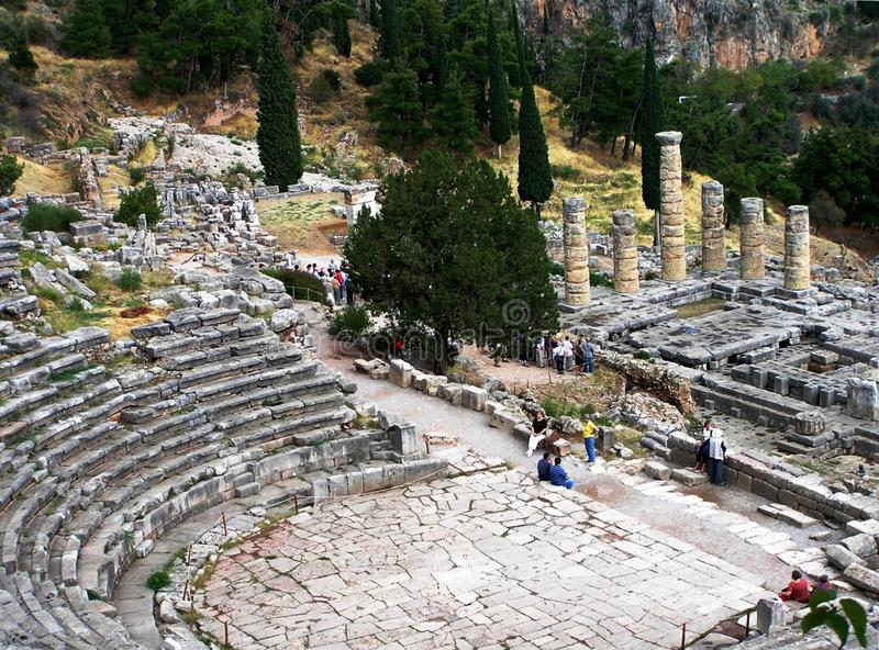 Greek theater in Delphi, Greece stock photography