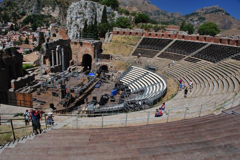 Greek theater taormina royalty free stock image