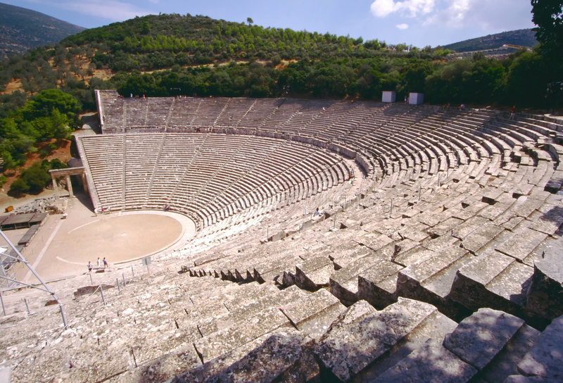 Greek theatre at Epidauros royalty free stock images